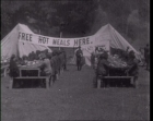 An emergency food tent is erected to feed those affected by the San Francisco earthquake in 1906