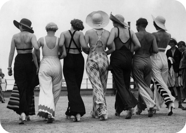 "Racy back-baring 1930s beach pyjamas, found at ""Curves, Patterns and Pins"" (Click the still to visit CPP's blog)"
