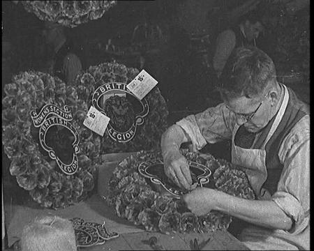 War veterans make poppies at the Royal British Legion factory in Richmond, 1941. Click the still to view the film.