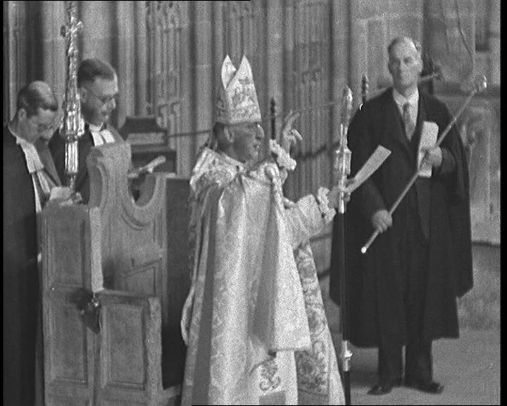 Dr. Geoffrey Fisher blesses the congregation following his enthronement as Archbishop of Canterbury in 1945. Click the still to view the film.