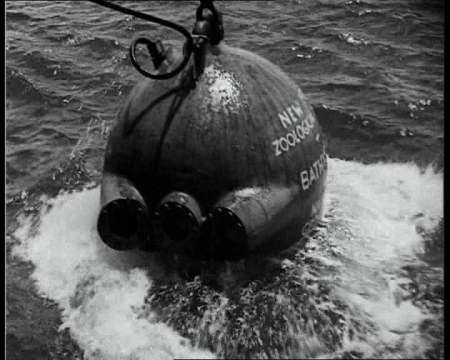Using somewhat more primitive technology, a record dive was completed in 1934. Sponsored by the National Geographic Society, a record descent into the Atlantic was completed. Click the still to view the film.