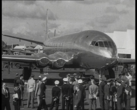 The De Havilland Comet, a record-making plane, built in Britain. It first flew in 1949.