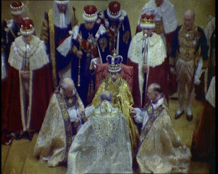 The Queen is crowned in this colour footage of the coronation. Click the still to view the film.
