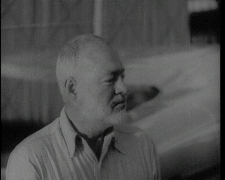 "Ernest Hemingway, a 20th century author making use of a language invented during the ""Dark Ages"", in a still from a newsreel announcing his suicide. Click the still to view the 1961 film."