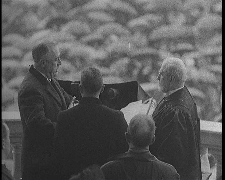 President Roosevelt takes the oath for his second term. Click the still to view films covering his three presidential election wins.