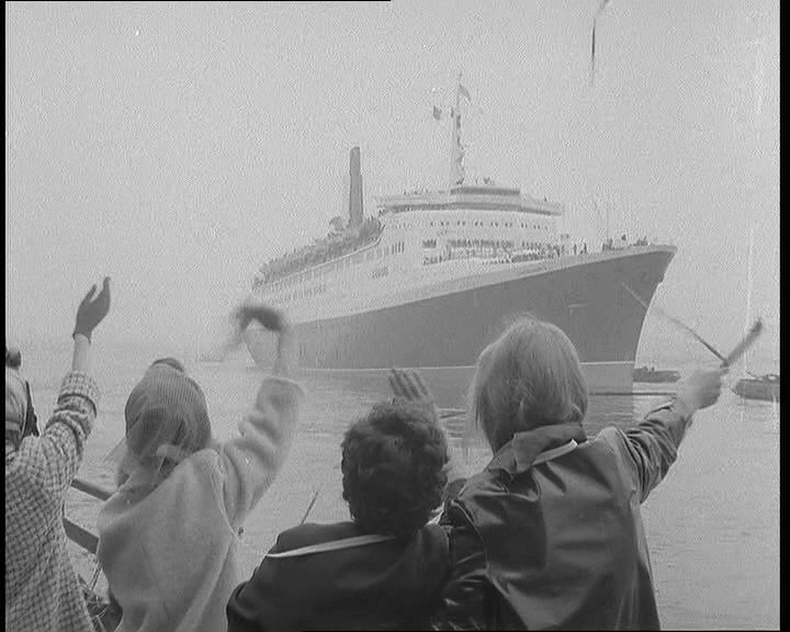The QE2 is waved off from Southampton on her maiden voyage.