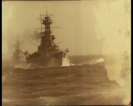"'""Rule Britannia!"" Pictures to thrill every British heart (taken by special permission) during Atlantic Battle Fleet Manoeuvres.' Click the still to view this 1928 newsreel."