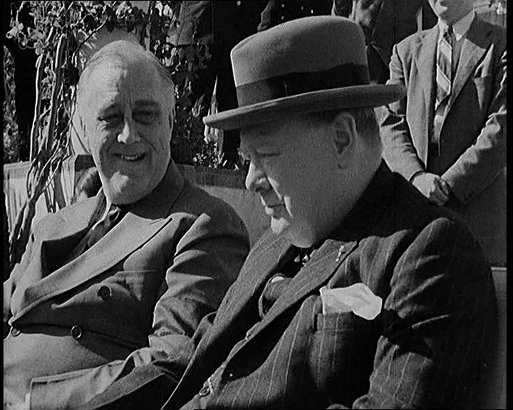 Churchill and Roosevelt. Click the still to view the film.