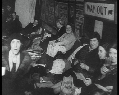 Aldwych Station is used as an air raid shelter during the Blitz. Click the still to view the film.
