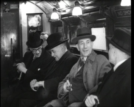 "Tube travel in 1946. Click the still to view ""new"" carriages contrasted with the old ones."