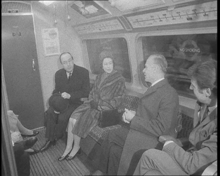 The Queen rides in a tube carriage during the opening ceremony of the Victoria Line's stage 3 in 1969. Click the still to view the film.