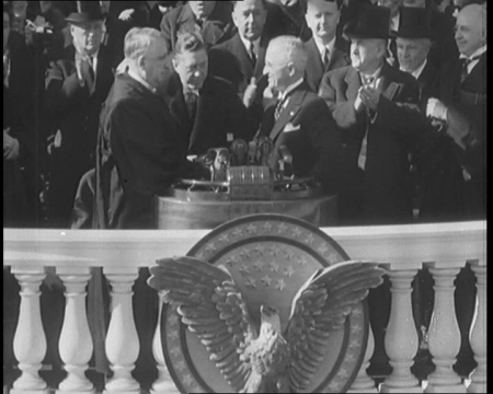 Harry Truman takes the oath. Click the still to view the film.
