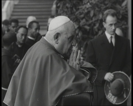 Pope John XXIII prays in the Vatican Grottos.