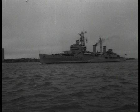 HMS Belfast sets off for Gibraltar in a 1963 film. Click the still to view.