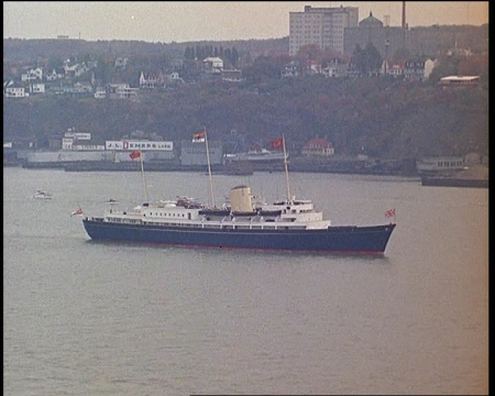 Britannia carries the Queen on one of her many tours. In this film, the yacht steams up the St Lawrence River in 1964. Click the still to view the film.