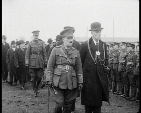 Sir Charles Lupton (Kate's great-great-great uncle) leads a group of men, including Kate's great-great-grandfather, in reviewing troops in Leeds, 1915.